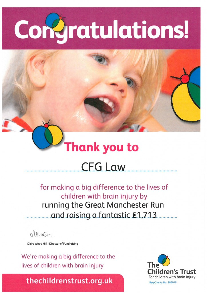 CFG Law runners raise more than £1700 for The Children's Trust